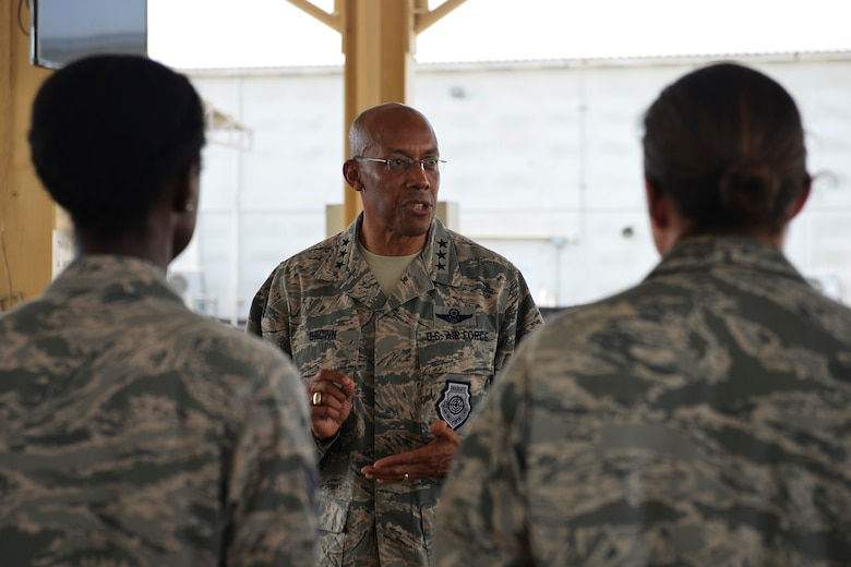 Brig. Gen. Charles Corcoran, 380th Air Expeditionary Wing commander, right, greets Lt. Gen. Charles Q. Brown, Jr., U.S. Air Forces Central Command commander, upon his arrival at an undisclosed location in Southwest Asia June 28, 2016. Brown visited the location to interact with members of the wing and to officiate over the 380th AEW change of command ceremony. (U.S. Air Force photo by Tech. Sgt. Chad Warren)