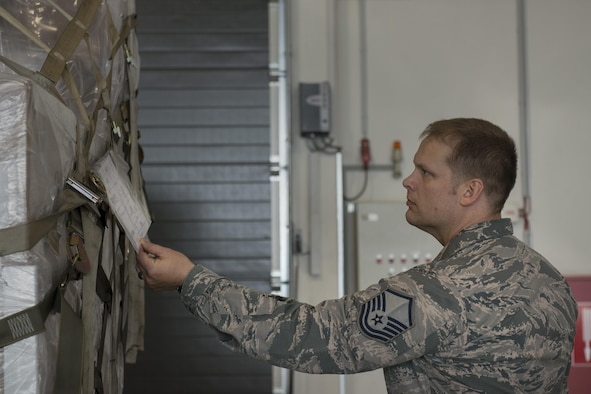 Master Sgt. Ryan Armour, 721st Aerial Port Squadron safety superintendent, checks the safety information on a pallet June 28, 2016, at Ramstein Air Base, Germany. Airmen from the 721st APS often use forklifts and load heavy cargo into large aircrafts, and the safety office helps to prevent injuries or damage to equipment. (U.S. Air Force photo/Airman 1st Class Tryphena Mayhugh)
