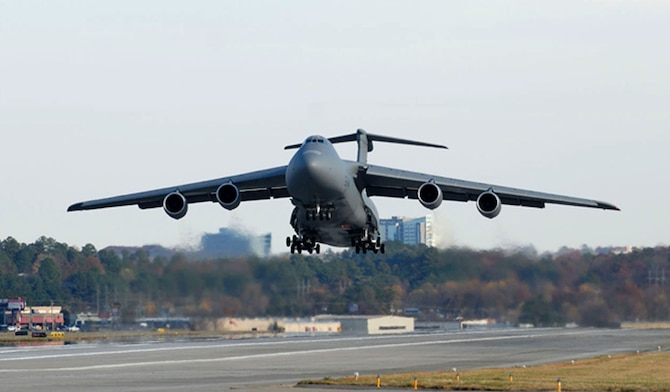 A Lockheed Martin C-5M Super Galaxy test aircraft takes of from Dobbins Air Reserve Base, Ga. (Courtesy photo)