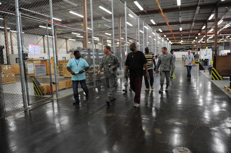 Col. C. Mike Smith, 81st Training Wing vice commander, receives a tour of the Taylor Logistics Center supply warehouse during an 81st Mission Support Group immersion tour June 23, 2016 on Keesler Air Force Base, Miss. The purpose of the tour was to become familiar with the group's mission, operations and personnel. (U.S. Air Force photo by Kemberly Groue/Released)