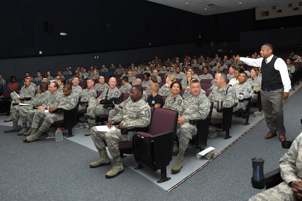 Retired Chief Master Sgt. Anthony Brinkley speaks at a leadership and personal development seminar at the Welch Theater June 24, 2016 on Keesler Air Force Base, Miss. Brinkley, with more than 28 years of military experience, is delivering seminars highlighting leadership development, motivational speaking and team building to military members and civilians at all 2nd Air Force bases. (U.S. Air Force photo by Kemberly Groue/Released)