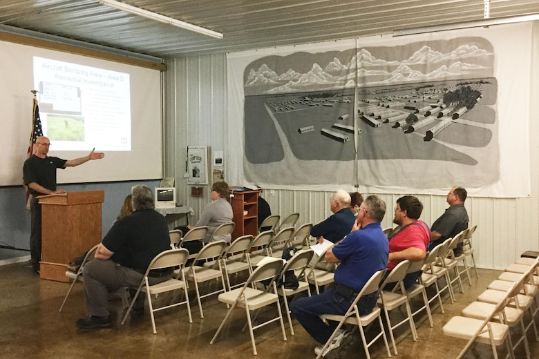 Members of the public gather at a meeting April 26 to comment on the proposed plan for the Former Camp Ellis Military Reservation in Table Grove, Illinois.
