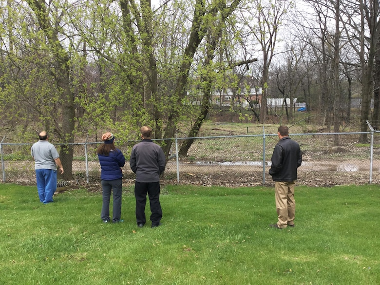 The project delivery team visited the Landfill 1 site at Fort Sheridan to discuss the site work which will take place beginning in late June.