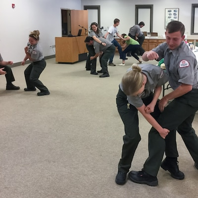 The Miami River Area's visitor assistance training included a self-defense refresher.