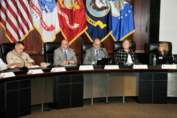 Marine Corps Maj. Gen. Vincent Coglianese, U.S. Marine Corps Installations and Logistics; Mike Scott;Tony Poleo; Jan Mulligan, Deputy Assistant Secretary of Defense for Supply Chain Integration; and Kathy Cutler listen to opening remarks at the 2016 Cost Summit.