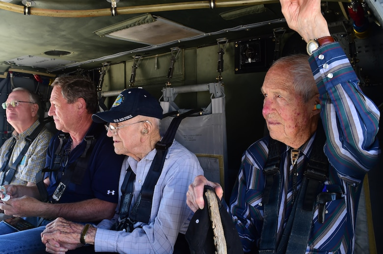 (right) Ret. U.S. Air Force Col. Bill Myers and Ret. U.S. Air Force Lt. Col. Morris L. Quick Jr., get ready to take flight inside a Sikorsky UH-60 Black Hawk helicopter June 17, 2016, at the Army Aviation Facility on Buckley Air Force Base, Colo. Quick and Myers are both part of the Order of Daedalians, which honors WWI aviators as the first to fly United States aircraft in a time of war. The two men, now in their late 90's, both served in WWII, Korea and Vietnam. Both men have a connection with Colorado. Quick flew out of Buckley Field during WWII and Myers was a part of the Colorado Air National Guard. (U.S. Air Force photo by Airman 1st Class Luke W. Nowakowski/Released)