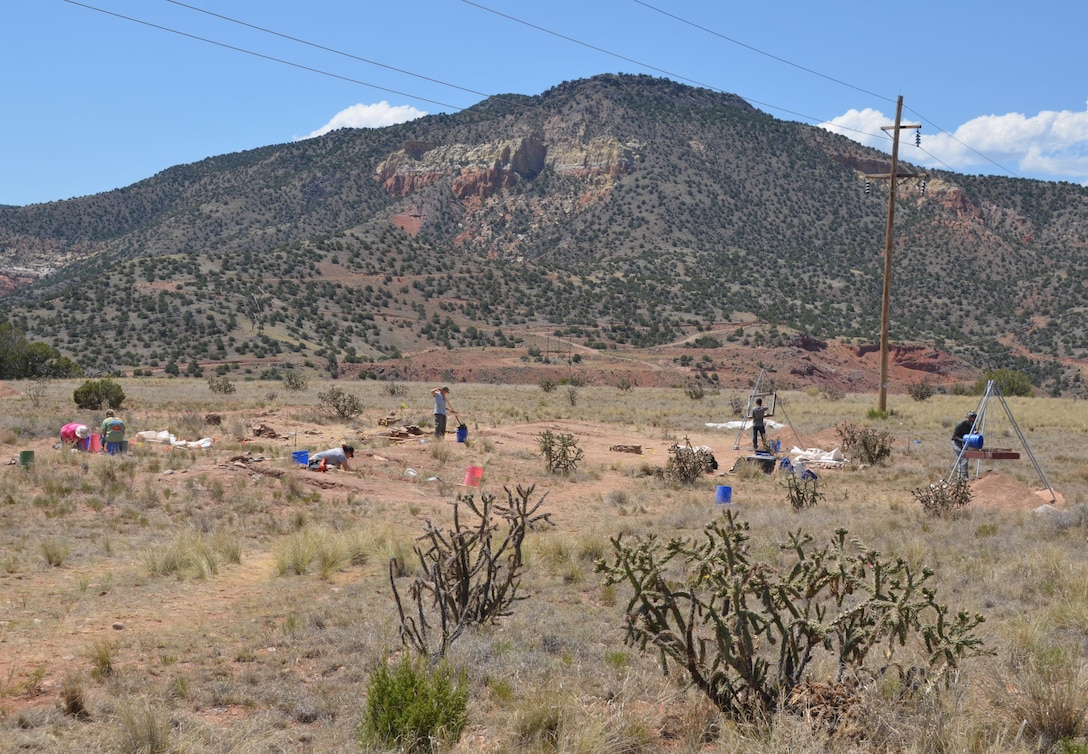 ABIQUIU LAKE, N.M. – University of Oklahoma students develop their archaeological field work skills while excavating the Palisade Ruin site during a field school here, June 21, 2016.