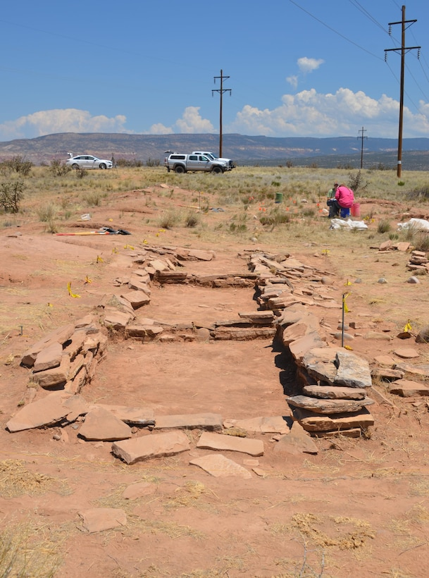 ABIQUIU LAKE, N.M. – Some of the rooms of the structure that were uncovered during the excavation. The structure's rooms were made of adobe and masonry, although it appears that the use of masonry was discarded in favor of adobe due to the difficulty of obtaining the needed sandstone slabs.