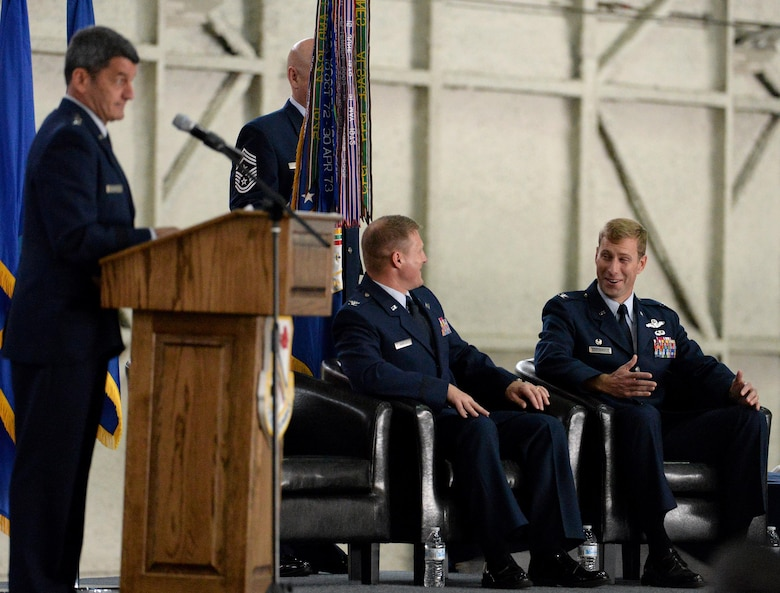 U.S. Air Force Lt. Gen. Russell Handy, the Eleventh Air Force commander, gives as speech during the 354th Fighter Wing change of command ceremony, June 29, 2016, at Eielson Air Force Base, Alaska. Col. Michael Winkler, the outgoing wing commander, relinquished command to Col. David Mineau, the new wing commander. (U.S. Air Force photo by Master Sgt. Karen J. Tomasik/Released)
