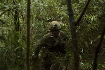 A Marine with Helo Company, 2nd Battalion, 4th Marine Regiment, 31st Marine Expeditionary Unit trecks through the jungle June 25, 2016 at the Jungle Warfare Training Center in Okinawa, Japan during scenario based training. The training was part of Marine Expeditionary Unit Exercise in preparation for the 31st MEU's upcoming fall deployment (U.S. Marine Corps photo by Cpl. Samantha Villarreal/Released)