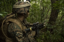 A Marine with Helo Company, 2nd Battalion, 4th Marine Regiment, 31st Marine Expeditionary Unit provides area security in the jungle during a scenario based helo raid training event c as part of Marine Expeditionary Unit Exercise June 25, 2016 at the Jungle Warfare Training Center in Okinawa, Japan.The training was conducting in preparation for the 31st MEU's upcoming fall deployment.(U.S. Marine Corps photo by Cpl. Samantha Villarreal/Released)