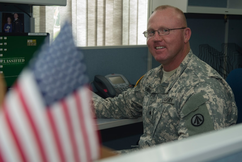 Sergeant Phillip Pennington of the 841st Transportation Battalion on Joint Base Charleston – Naval Weapons Station works on his computer June 28, 2016. Independence Day means independence from other countries and being able to go out and do what we want to do. (U.S. Air Force photo/Airman 1st Class Kevin West)