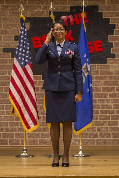 U.S. Air Force Col. Patricia John, former 52nd Medical Operations Squadron commander, delivers a last salute to her former squadron during during the 52nd MDOS change of commander ceremony at the Brickhouse on Spangdahlem Air Base, Germany, June 29, 2016. John served as the 52nd MDOS commander since May 2014 before relinquishing command to U.S. Air Force Lt. Col. Rebecca Elliott, 52nd MDOS commander. (U.S. Air Force photo by Senior Airman Luke Kitterman/Released)