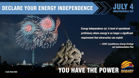 A reliable, secure source of energy is critical to Marines and their missions on base and in the battlefield. Take steps today to reduce your energy use and declare your energy independence. #EnergyEthos #YouHaveThePower
