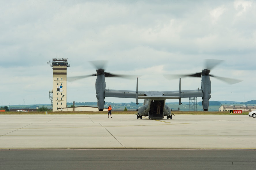 A CV-22 Osprey tilt-rotor aircraft assigned to the 352nd Special Operations Wing lands on the flightline at Spangdahlem Air Base, Germany, June 28, 2016. The 352nd SOW, currently stationed at Royal Air Force Mildenhall, United Kingdom, will relocate to Spangdahlem as part of the European Infrastructure Consolidation realignment slated over the coming years. (U.S. Air Force Photo by Staff Sgt. Joe W. McFadden/Released)