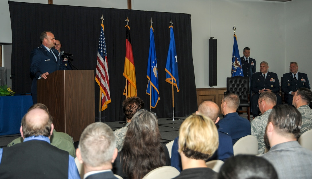 Brig. Gen. Keith Givens, commander of Air Force Office of Special Investigations, Quantico, Virginia, gives his remarks during the 5th Field Investigations Region change of command ceremony, June 29, 2016, at Ramstein Air Base, Germany. Members of the Kaiserslautern Military Community came together as Col. Shan Nuckols took command of the 5th FIR from Col James Hudson. (U.S. Air Force photo/Staff Sgt. Timothy Moore)