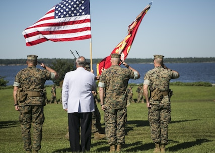 (Left to Right) U.S. Marine Corps Brig. Gen. Charles G. Chiarotti, outgoing commanding general, 2nd Marine Logistics Group, Maj. Gen. Robert C. Dickerson, retired and Lt. Gen. John E. Wissler, U.S. Marine Forces Command, commander, and Col. Daniel P. O'Hora, incoming commander, 2nd MLG, salute the colors during the 2nd MLG change of command ceremony at Camp Lejeune, N.C., June 8, 2016.  (U.S. Marine Corps photo by Lance Cpl. Samantha A. Barajas)