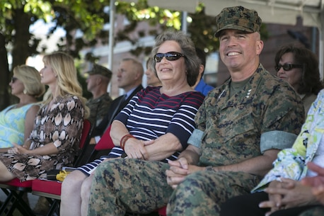 U.S. Marine Corps Lt. Gen. John E. Wissler, U.S. Marine Forces Command, commander, attends the 2nd Marine Division change of command ceremony while visiting Camp Lejeune, N.C., June 8, 2016. (U.S. Marine Corps photo by Lance Cpl. Samantha A. Barajas)