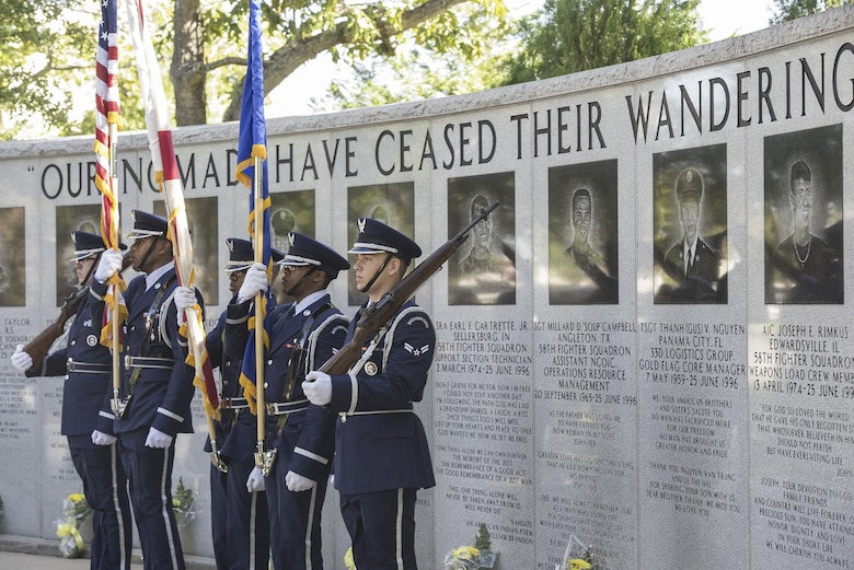 The Eglin Air Force Base Honor Guard presents the colors at the Khobar Towers memorial ceremony on Eglin Air Force Base, Fla., June 24, 2016. The ceremony marked the 20th anniversary of the Khobar Towers terrorist attack and honored the 19 Airmen who lost their lives while paying tribute to their families and survivors. (U.S. Air Force photo/Senior Airman Stormy Archer)