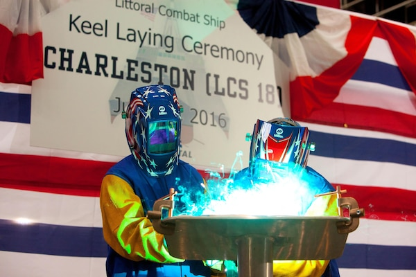16028-N-RA705-001 MOBILE, Alabama (June 28, 2016)U.S. Rep. Bradley Byrne (R-AL) served as the honorary keel authenticator during the ceremony and was present to weld his initials into the keel plate. The Program Executive Office Littoral Combat Ships is responsible for delivering and sustaining littoral mission capabilities to the fleet while balancing affordability and capability. (Released)