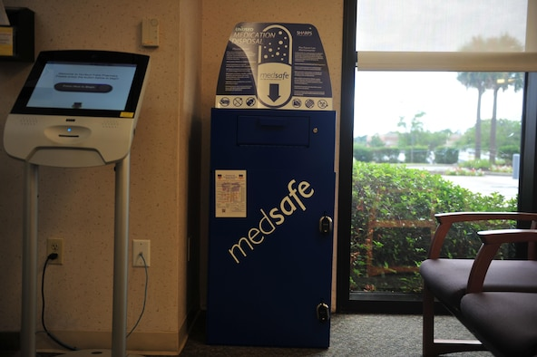 The MedSafe box located in the 1st Special Operations Medical Group pharmacy waiting area on Hurlburt Field has enabled the pharmacy to take back more medications with less hassle. Patrons can dispose of their medications during normal pharmacy business hours. (U.S. Air Force photo by Airman Dennis Spain)
