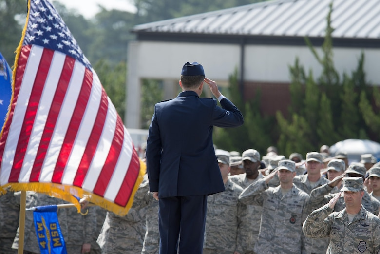 Col. Christopher Sage, 4th Fighter Wing commander, gives his first salute to members of the wing June 30, 2016, at Seymour Johnson Air Force Base, North Carolina. Sage was assigned to Seymour Johnson twice before and has logged more than 4,100 flight hours, including 1,100 combat hours during his 22-year career. (U.S. Air Force photo/Tech. Sgt. Chuck Broadway)