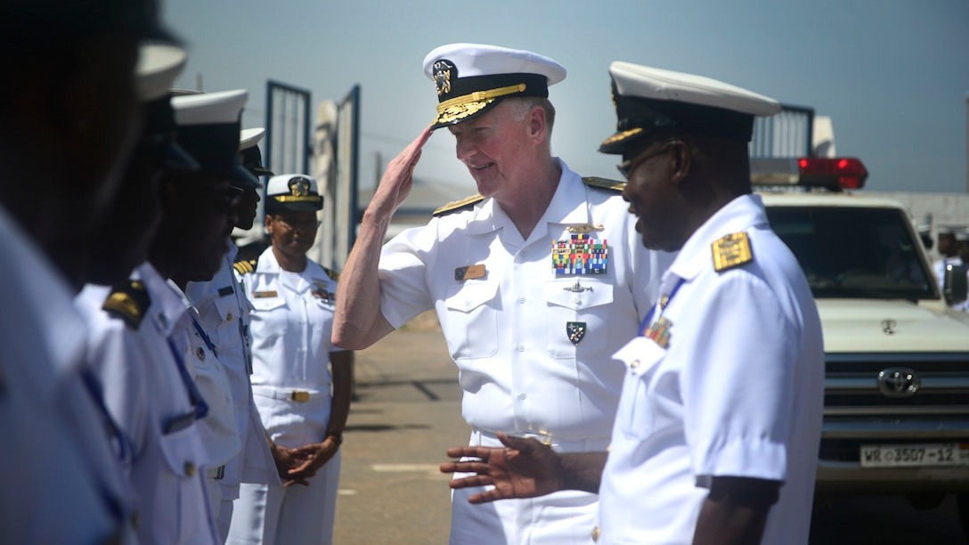 Commander, U.S. 6th Fleet VADM James Foggo inspects Ghanaian sailors in Tema as part of the Obangame Express multinational maritime exercise, sponsored by U.S. Africa Command.