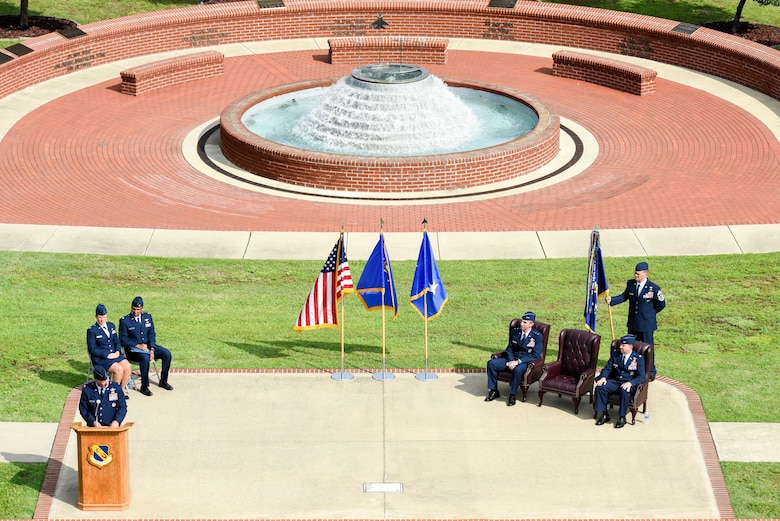 Col. Mark Slocum, outgoing 4th Fighter Wing commander, speaks to Airmen during the 4th Fighter Wing change of command ceremony, June 30, 2016, at Seymour Johnson Air Force Base, North Carolina. Slocum relinquished command to Col. Christopher Sage, who has served at Seymour Johnson AFB on two previous assignments. (U.S. Air Force photo by Airman Shawna L. Keyes/Released)