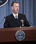 Chief of Naval Operations Adm. John Richardson discusses the results of an investigation into the seizure of two U.S. Navy riverine command boats by Iranian forces and the subsequent detention of 10 Sailors in 2016. Navy photo by MC1 Nathan Laird