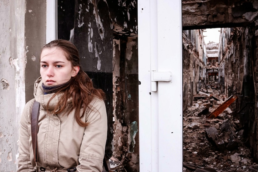 Damaged building in Kurakhove, Ukraine, 10 miles west of the frontlines in Donbass, November 26, 2014