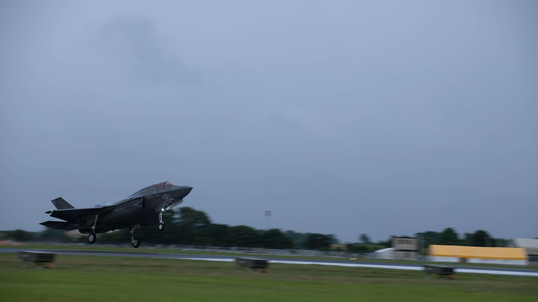 An F-35B Lightning II lands at Royal Air Force Base Fairford in the United Kingdom after the first F-35 trans-Atlantic flight, June 29, 2016. Three F-35B's flew from Marine Corps Air Station Beaufort, South Carolina and landed at RAF Fairford in Gloucester, England. They were assisted by two KC-10's and refueled 15 times over the Atlantic Ocean.