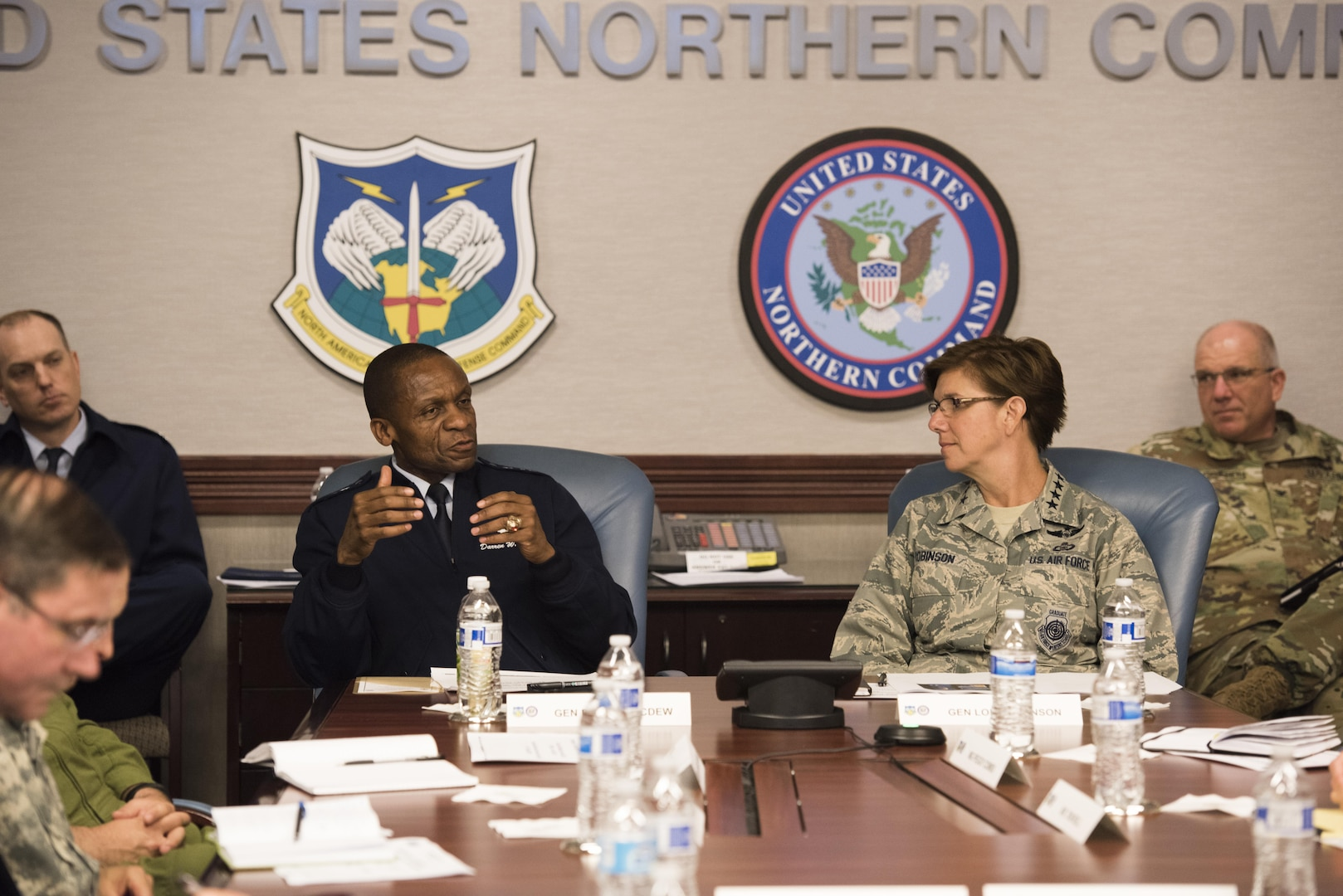 Gen. Darren McDew, U.S. Transportation Command commander, visited NORAD and USNORTHCOM June 29, 2016, to welcome Gen. Lori Robinson, the new commander of NORAD and USNORTHCOM, and to discuss her vision for the two commands. The two commanders also discussed their shared equities regarding military air transportation and Defense Support of Civil Authorities missions.  (Photo by Tech. Sgt. Joe Laws)