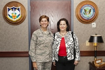 The Honorable Katherine Hammack, Assistant Secretary of the Army (Installations, Energy, and Environment) visited NORAD and USNORTHCOM June 29, 2016, to discuss Army installations with Gen. Lori Robinson, commander of NORAD and NORTHCOM.  They discussed how the Army installations support the two commands' missions.  (Photo by Dennis L. Carlyle)