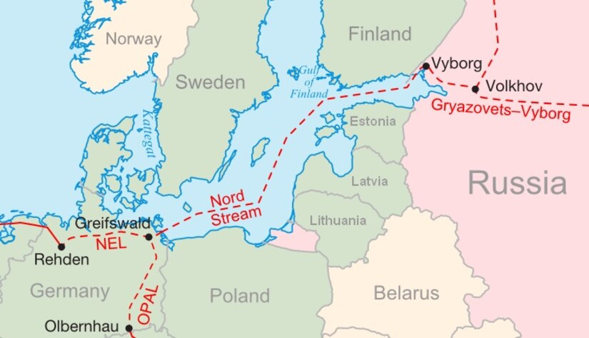 The recent Russia-Germany pipeline negotiations, Nord Stream II—depicted in the map above—would weaken Eastern European energy security.