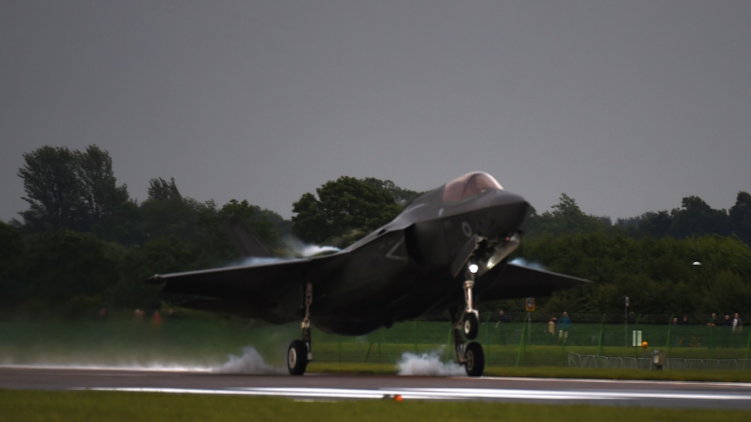 An F-35B Lightning II touches down at RAF Fairford, United Kingdom, June 29, 2016. This marks the first time an F-35B has landed on UK soil. (U.S. Air Force photo by Tech. Sgt. Jarad A. Denton/Released)