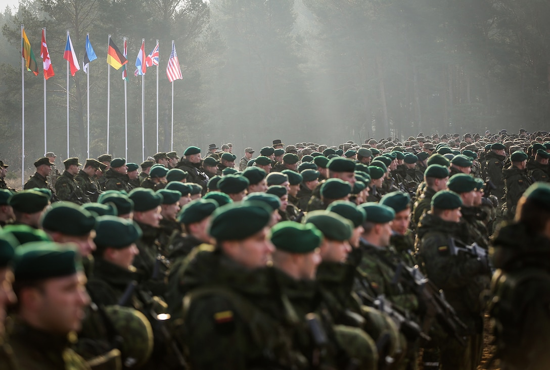 More than 2,500 troops from 9 NATO countries participated in exercise Iron Sword in Pabrade, Lithuania in November 2014.