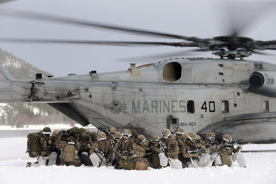 Dutch infantry deployed by a U.S. Marine Corps helicopter during exercise Cold Response 2016.