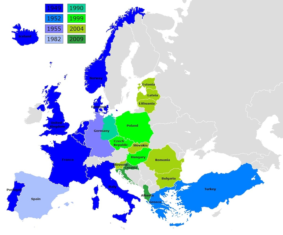 Map depicting NATO's eastern expansion over time (1949-2009).