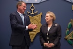 Defense Secretary Ash Carter applauds Madeleine Albright for her public service achievements before he presents her the Department of Defense Medal for Distinguished Public Service at the Pentagon, June 30, 2016. DoD photo by Air Force Senior Master Sgt. Adrian Cadiz