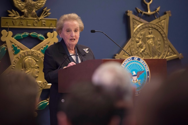 Madeleine Albright, former secretary of state, delivers remarks after receiving the Department of Defense Medal for Distinguished Public Service from Defense Secretary Ash Carter at the Pentagon, June 30, 2016. DoD photo by Air Force Senior Master Sgt. Adrian Cadiz. See more photos at the Secretary's Flickr site.
