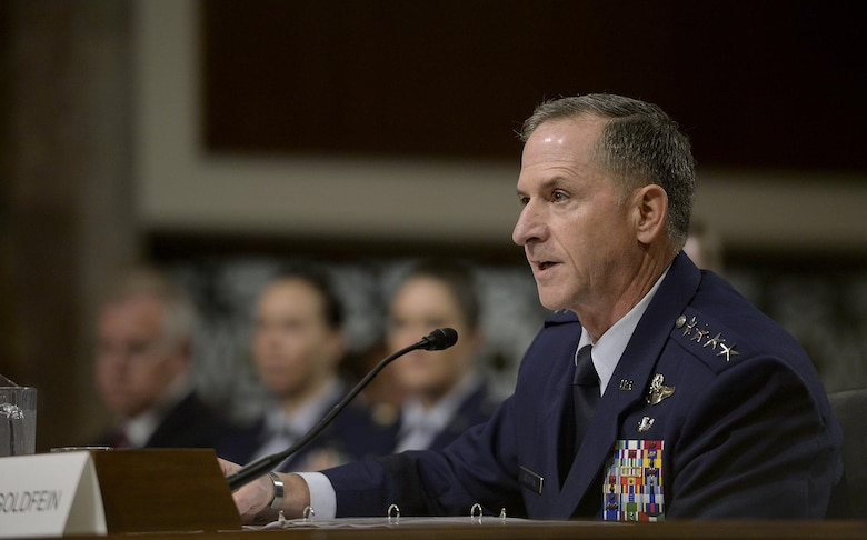 Air Force Vice Chief of Staff Gen. David L. Goldfein testifies before the Senate Armed Services Committee during his confirmation hearing June 16, 2016, in Washington, following his presidential nomination for the position of the 21st Air Force chief of staff. Goldfein was confirmed by the Senate as the Air Force's next chief of staff during a confirmation vote June 29. (U.S. Air Force photo/Scott M. Ash)