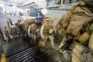 (Feb. 18, 2016) U.S. Marines load onto a landing craft utility