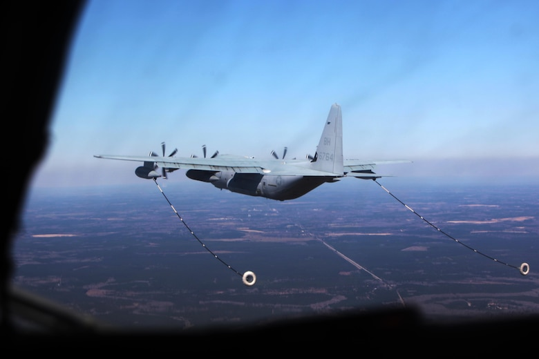 A KC-130J Super Hercules conducts aerial refueling missions during Exercise Eager Response at Marine Corps Air Station Beaufort, S.C., Feb. 25, 2016. During the exercise, Marines trained in events such as casualty evacuation, assault support missions and aerial refueling, proving the Marine Air-Ground Task Force is a highly effective combat force. (U.S. Marine Corps photo by Pfc. Nicholas P. Baird/Released)