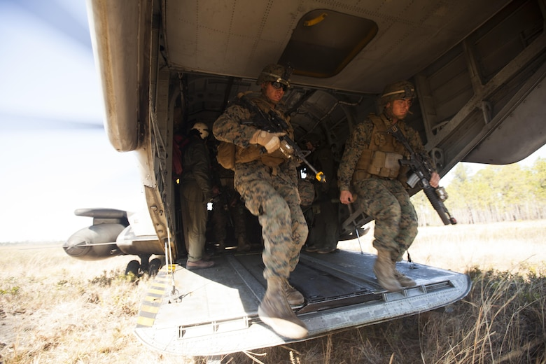 Marines with India company, 3rd Battalion, 6th Marine Regiment conduct casualty evacuation drills during Exercise Eager Response at Fort Stewart, Ga., Feb. 25, 2016. Marines trained in events such as casualty evacuation, assault support missions and aerial refueling, proving the Marine Air-Ground Task Force is a highly effective combat force. (U.S. Marine Corps photo by Pfc. Nicholas P. Baird/Released)