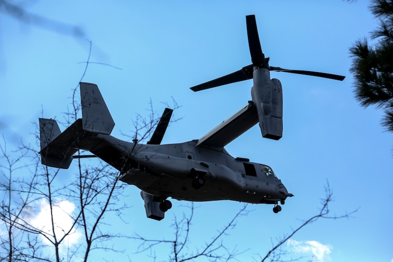 An MV-22B Osprey, operated by Marines with Marine Medium Tiltrotor Squadron 365, makes its descent at Fort Stewart, Ga., upon the start of exercise Eager Response, Feb. 25, 2016. The squadron was one of several units that transported 3rd Battalion, 6th Marine Regiment, from Marine Corps Base Camp Lejeune, N.C., to the U.S. Army training area. During Exercise Eager Response, Marines trained in events such as casualty evacuation, assault support missions and aerial refueling, proving the Marine Air-Ground Task Force is a highly effective combat force. (U.S. Marine Corps photo by Cpl. Paul S. Martinez/Released)