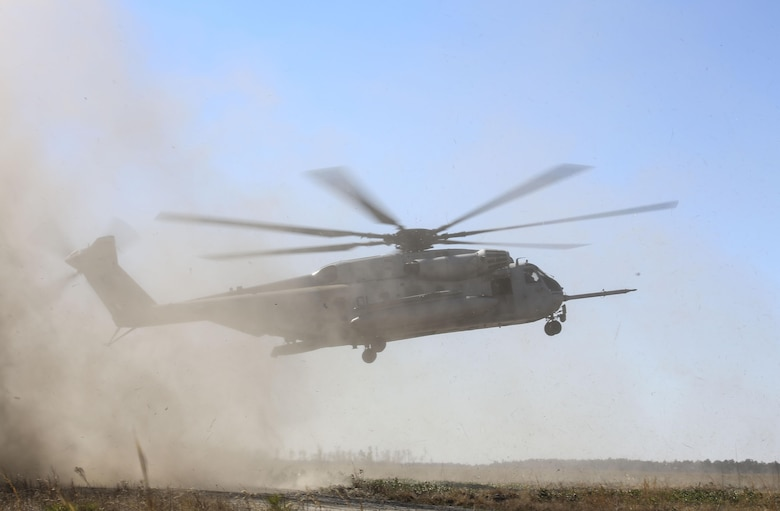 A CH-53E Super Stallion operated by Marines with Marine Heavy Helicopter Squadron 366 evacuates Marines with India Company, 3rd Battalion, 6th Marine Regiment, during a simulated casualty evacuation as part of exercise Eager Response at Fort Stewart, Ga., Feb. 26, 2016. During Exercise Eager Response, Marines trained in events such as casualty evacuation, assault support missions and aerial refueling, proving the Marine Air-Ground Task Force is a highly effective combat force.  (U.S. Marine Corps photo by Cpl. Paul S. Martinez/Released)