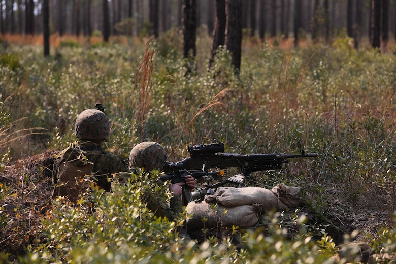 Marines with 3rd Battalion, 6th Marine Regiment, secure defensive positions as part of exercise Eager Response at Fort Stewart, Ga., Feb. 26, 2016. The various platoons of the companies quickly established defensive positions in an area unknown to them, thus challenging their ability to adapt and operate in a new environment. (U.S. Marine Corps photo by Cpl. Paul S. Martinez/Released)