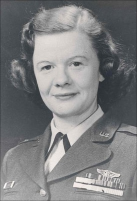 Captain Norma Parsons, circa 1956. She is wearing her prior service ribbons for her active duty in the Army Air Force in the India, China, Burma Theater during World War II and as an Air Force nurse serving in Korea during that conflict.