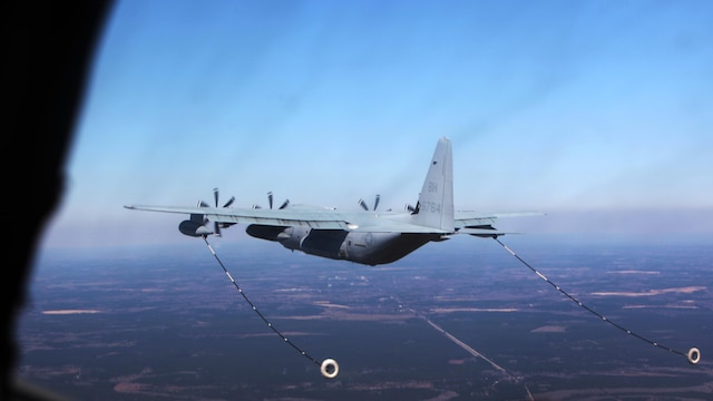A KC-130J Super Hercules conducts aerial refueling missions during Exercise Eager Response at Marine Corps Air Station Beaufort, S.C., Feb. 25, 2016. During the exercise, Marines trained in events such as casualty evacuation, assault support missions and aerial refueling, proving the Marine Air-Ground Task Force is a highly effective combat force.