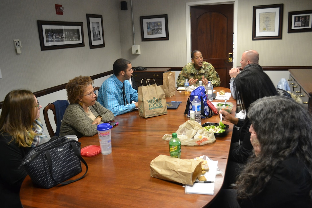 Army Brig. Gen. Charles Hamilton hosted his first brown bag luncheon with civilians in the Philadelphia Room Feb. 23, 2016. Attendees included members from different supply chains and staff offices.
